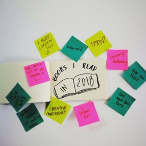 Books I read in 2018 sticky notes